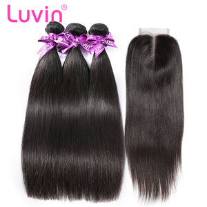 Luvin Malaysian Hair Weave Bundles Straight Hair Human Hair 3 4 Bundles With Closure Bleached Knots Remy Hair Extension