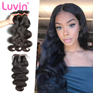 Luvin Peruvian Body Wave Human Hair Bundles With Closure Total 4Pcs/Lot 3 Bundles Hair Weft And 1 Piece Lace Closure