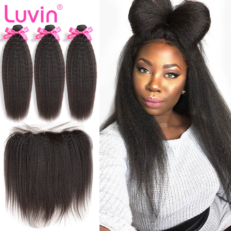 Luvin Brazilian Human Hair Bundles With Lace Frontal Closure Pre-Plucked Bleached Total 4Pcs/Lot Remy Hair Product Shipping Free