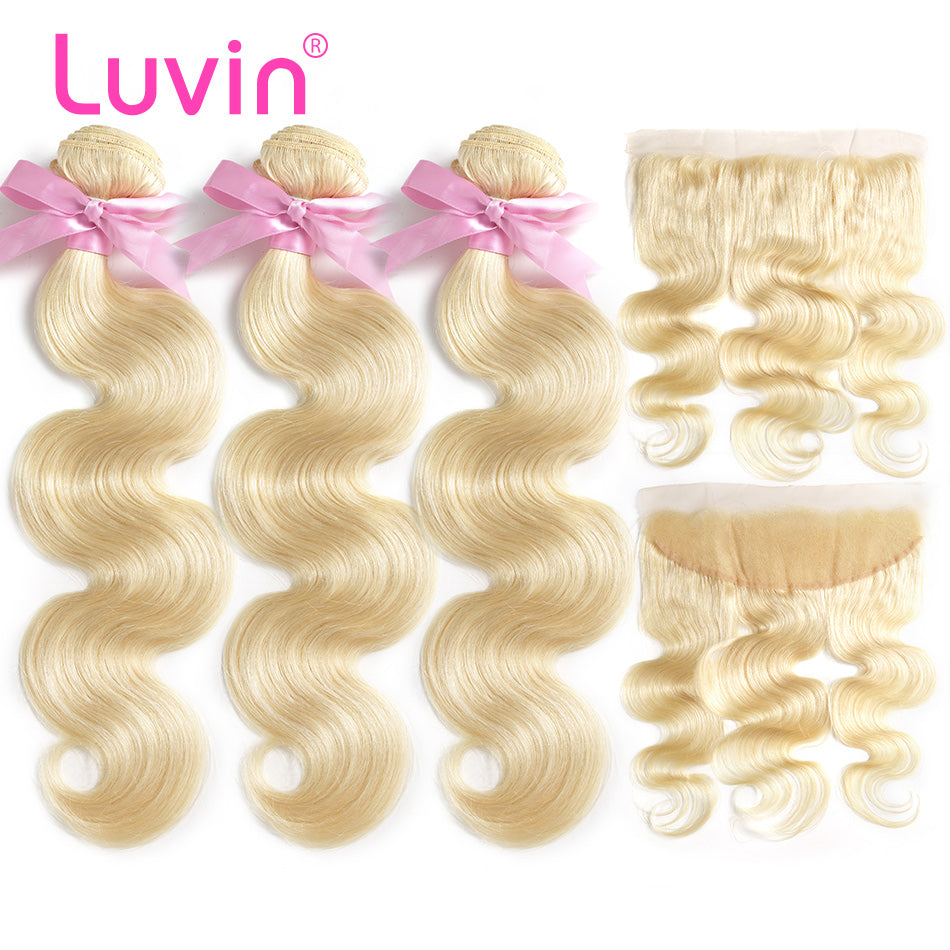 Luvin 613 Blonde Body Wave Brazilian Hair Weave Human Hair Bundles With Closure 3 Bundles Remy Hair and 1PC Lace Frontal Closure