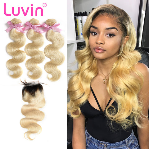 Luvin 613 Blonde Brazilian Body Wave Human Hair Bundles with Closure 3 Bundles Virgin Hair Weft And 1 Piece T1B/613 Lace Closure