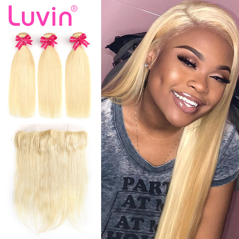 Luvin 613 Blonde Straight Brazilian Hair Weave Human Hair Bundles With Closure 3 Bundles Remy Hair and 1PC Lace Frontal Closure