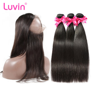 Luvin Hair Remy Hair Bundle With Closure Brazilian Hair 3 Bundles With 360 Lace Frontal Closure Pre-Plucked Straight