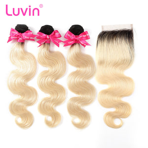 Luvin Ombre Blonde 3/4bundles with closure Brazilian Hair Body Wave 100% Remy Human Hair Weave Bundles Color T#1B/613 Dark Roots