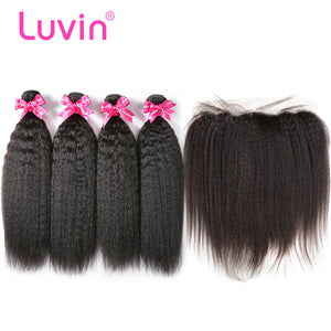 Luvin Malaysian Straight Unprocessed Virgin Hair Weave Bundles Kinky Straight Hair Extensions 4 5 Bundles With Frontal Closure