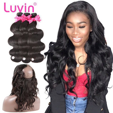 Luvin Hair Human Remy Hair Bundle With Closure Brazilian Hair 3 Bundles With 360 Lace Frontal Closure Pre-Plucked Body Wave