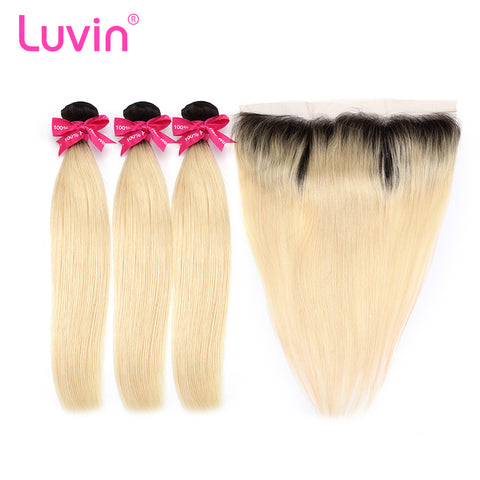 Luvin Ombre BlondeT#1B/#613 Straight Human Hair Bundles With Closure 3 Bundles Remy Hair Weave and 1PC Lace Frontal Closure