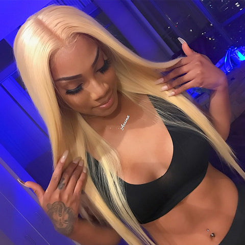 Luvin 613 Blonde Straight Brazilian Human Hair Bundles with Closure 3 Bundles Remy Hair Weft And 1 Piece 4X4 Lace Closure