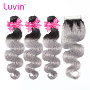 Luvin Ombre Grey 3/4 bundles with closure Brazilian Hair Body Wave 100% Remy Human Hair Weave Bundles Color T#1B/Grey
