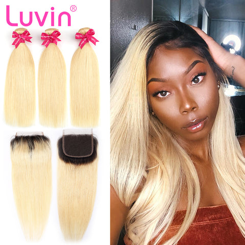 Luvin 613 Blonde Straight Brazilian Human Hair Bundles with Closure 3 Bundles Virgin Hair Weft And 1 Piece T1B/613 Lace Closure