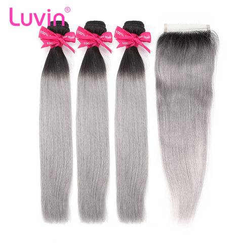 Luvin Ombre Grey 3/4 bundles with closure Brazilian Straight Hair 100% Remy Human Hair Weave Bundles Color T#1B/Grey