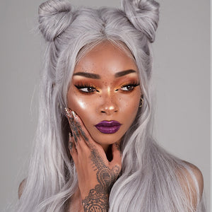 Luvin Grey Silver Straight Brazilian Hair Weave Human Hair Bundles With Closure 3 Bundles Remy Hair and 1PC Lace Frontal Closure