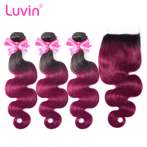 Luvin Ombre Hair 3/4 bundles with closure Brazilian Hair Body Wave 100% Remy Human Hair Weave Bundles Color T1B/Burgundy 99J Red