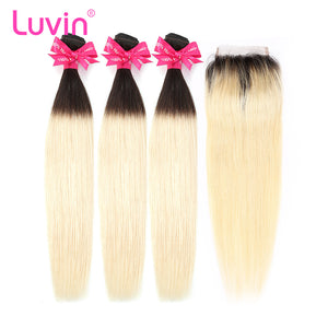 Luvin Ombre Blonde 3/4 bundles with closure Brazilian Straight Hair 100% Remy Human Hair Weave Bundles Color T#1B/#613