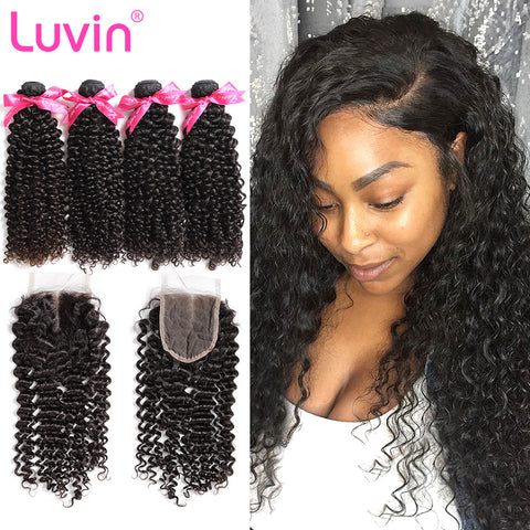 Luvin Brazilian Afro Kinky Curly Virgin Hair 4 Bundles With Closure 100% Human Hair Bundles Weave With Lace Closure Bleach Knots