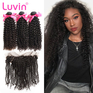 Luvin Brazilian Hair Weave Bundles Kinky Curly Hair Remy Hair 3 4 Bundles With Frontal Closure Bleached Knots Hair Extension