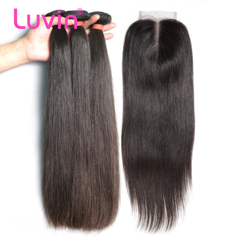 Luvin Peruvian Straight Human Hair 3 Bundles With Closure Middle Part Remy Hair 4x4 Lace Closure Total 4PCS/Lot Free Shipping
