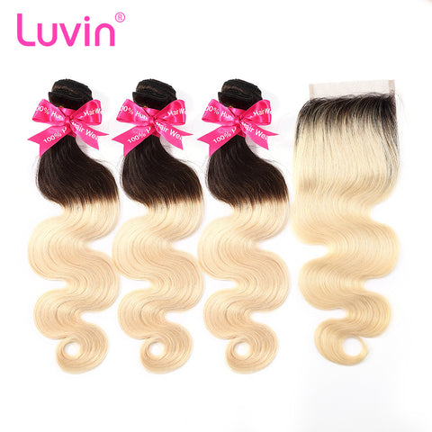 Luvin Ombre Blonde 3/4 bundles with closure Brazilian Hair Body Wave 100% Remy Human Hair Weave Bundles Color T#1B/#613