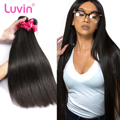 Luvin Peruvian Virgin Hair Bundles Straight Human Hair Weave 100% Unprocessed Hair Extensions 30 inch Natrual Color 1 3 Bundles