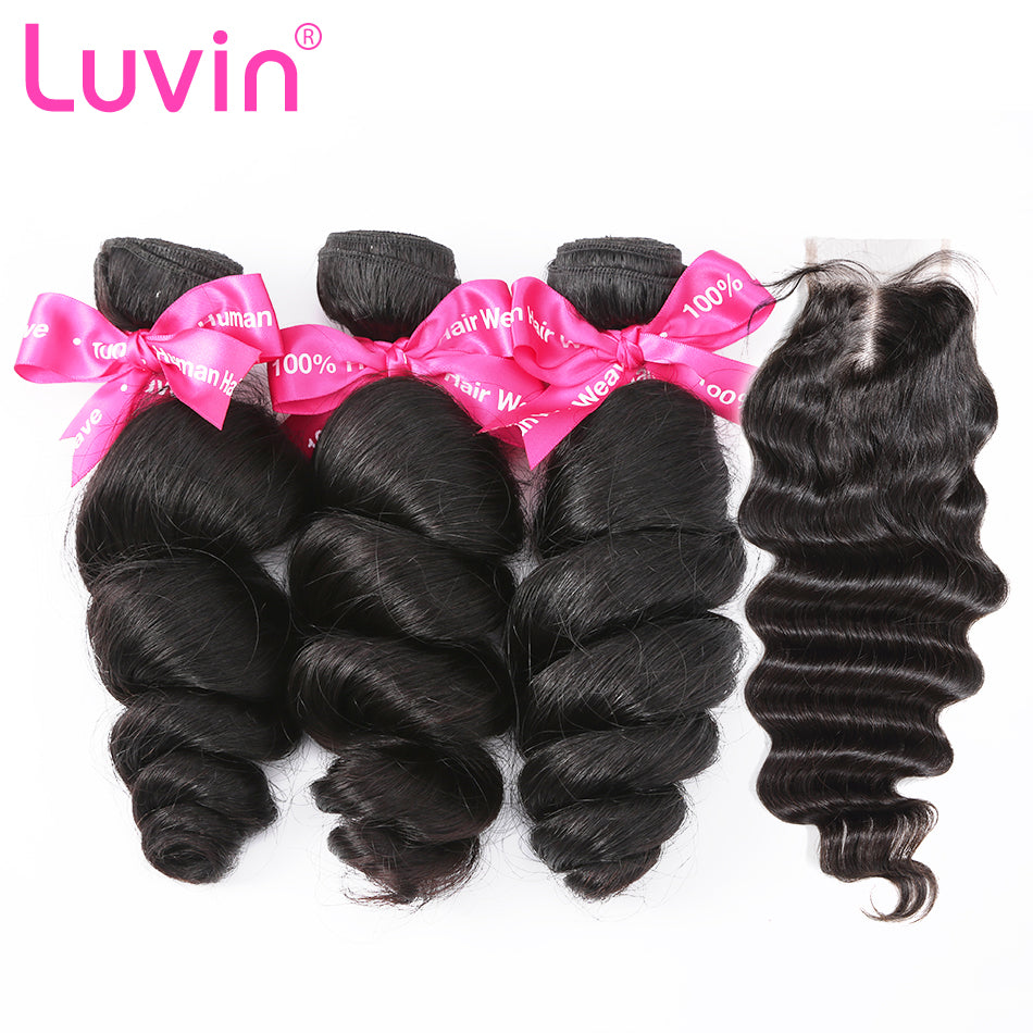 Luvin Brazilian Hair Weave 3 4 Bundles With Closure Loose Wave 100% Virgin Human Hair 4x4 Lace Closure Bleached Knots