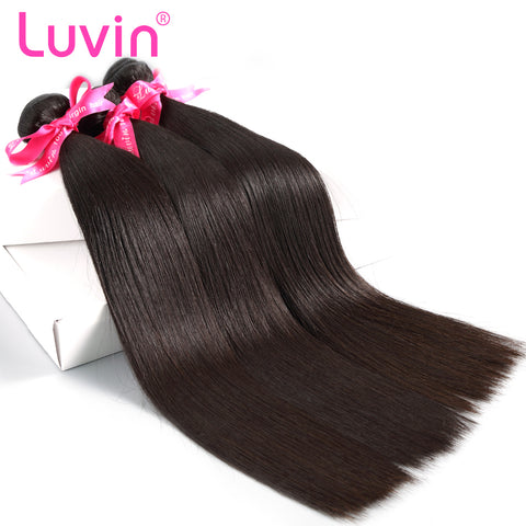 Luvin Peruvian Virgin Hair Straight 3 Bundles Lots 100% Human Hair Weave Bundles Natural Color Hair Extension Soft Hair