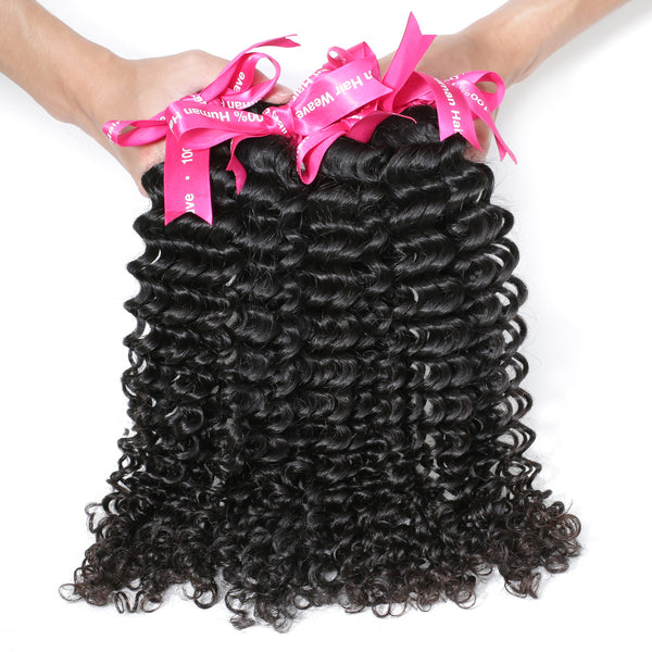 Brazilian Virgin Hair Deep Wave 4 Pcs/Lots 100% Natural Color Human Hair Weave Bundles No Shedding No Tangle Soft Hair