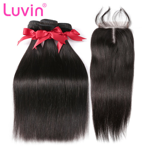 Luvin Brazilian Hair Weave 3 4 Bundles With Closure Straight 100% Virgin Human Hair 4x4 Lace Closure Bleached Knots