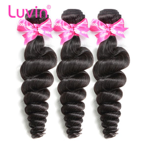 Luvin Brazilian Virgin Hair Loose Wave 3 Pcs/Lots 100% Unprocessed Human Hair Bundles Weaves Soft Hair Free Shipping