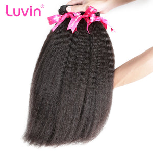 Luvin Brazilian Virgin Hair Kinky Straight 3 Pcs/Lot 100% Unprocessed Human Hair Bundles Weaves