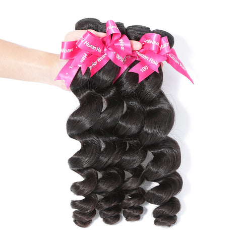 Luvin Peruvian Loose Wave Virgin Hair Weft 4 Pcs/Lot 100% Unprocessed Human Hair Weave Bundles Soft Hair No Shedding No Tangles
