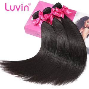 Luvin Malaysian Virgin Hair Straight 3 Bundles Lots 100% Human Hair Weave Bundles Natural Color Hair Extension Soft Hair