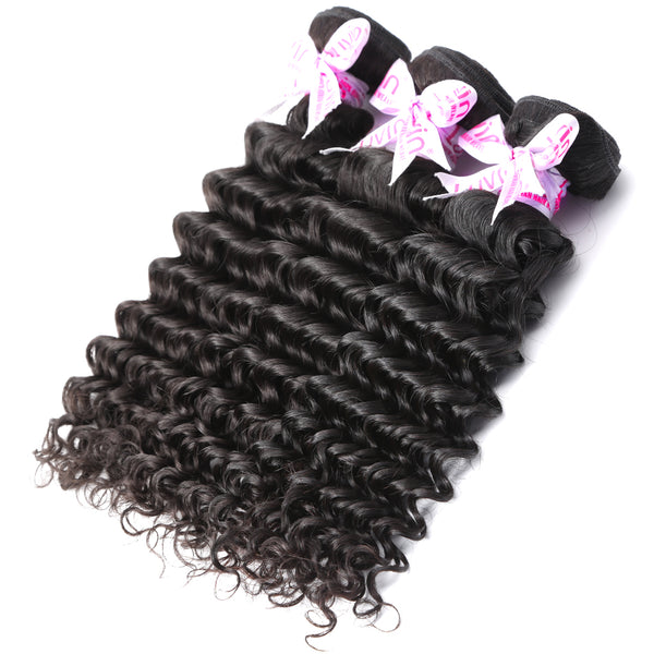 Luvin Mink Brazilian Hair Weave Deep Wave Bundles Human Hair Weaves Remy Hair Deep Curly Bundles Hair Extensions 30 Inch Bundles