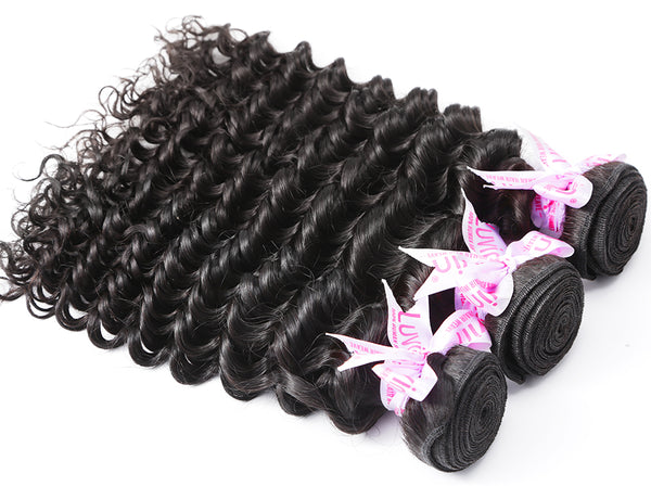 Luvin Brazilian Deep Wave Human Hair Weaves Bundles 1PC Natural Color 100% Remy Hair Extensions Weft Curly Hair 30 Inch Bundles