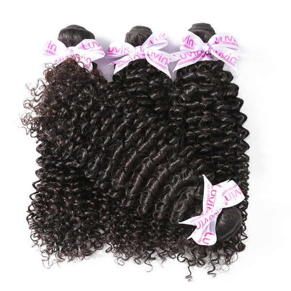 "Luvin Mongolian Kinky Curly Hair 100% Remy Human Hair Weave Bundles Natural Color 8""-28"" Free Shipping"