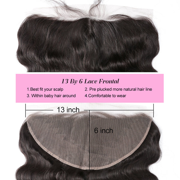 Luvin Brazilian Human Hair Lace Frontal Closure Body Wave 13*6 Bleached Knots Baby Hair Pre Pluched 100% Remy Hair Shipping Free