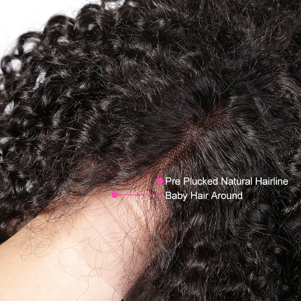 Deep Wave Glueless Lace Front Human Hair Short BOB Wigs With Baby Hair Brazilian Remy Curly Hair Wigs Bleached Knots