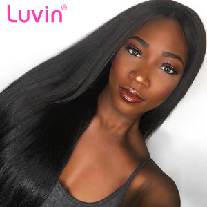 Luvin Brazilian Human Hair Wigs For Women Black Straight Remy 250 density Lace Front Wigs 3 Bundles With 13x4 Lace Frontal Wig