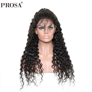 Curly 360 Lace Frontal Wig 150% Density Brazilian Human Hair Lace Wig Pre Plucked With Baby Hair Remy Natural Color Prosa
