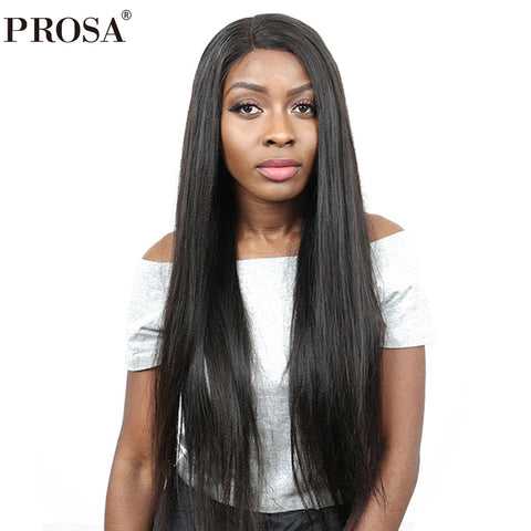 Yaki Straight 360 Lace Frontal Wig 150% Density Lace Frontal Human Hair Wigs Brazilian Lace Wig Natural Color Prosa Remy