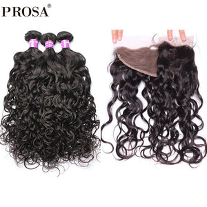3 Water Wave Bundles With Closure 4Pcs Brazilian Hair Weave Bundles With Closure Bleaches Knots Prosa Hair Products Remy