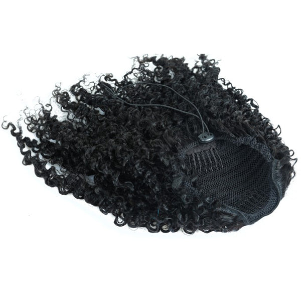 3B 3C Kinky Curly Ponytails For Women Natural Color Mongolian Clip In Human Hair Extensions Prosa Remy Hair Products