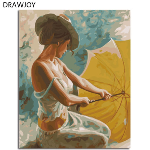DRAWJOY Framed DIY Painting By Numbers Of Beauty Lady Oil Painting Home Decor For Living Room Coloring By Numbers On Canvas