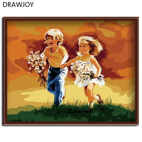 DRAWJOY Framed Painting By Numbers DIY Oil Handwork Painting On Canvas 40*50cm For Home Decoration Wall Art Unique Gifts