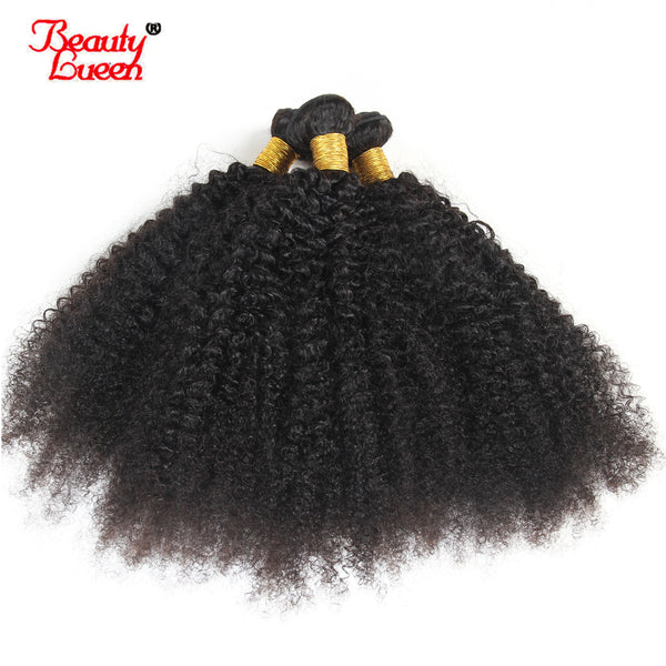 4B 4C Mongolian Afro Kinky Curly Weave Human Hair Bundles 4 Bundles Non Remy Natural Color Hair Weaving Extensions Beauty Lueen