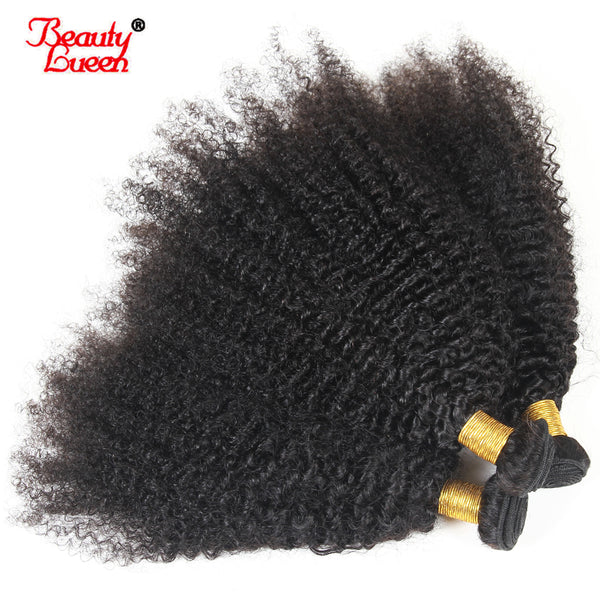 "Afro Kinky Curly Weave Human Hair Bundles Natural Black 4 Bundles Brazilian Hair Weave Bundles 8-22"" Non Remy Hair Beauty Lueen"