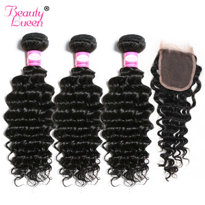 Deep Wave Human Hair 3 Bundles With Closure Malaysian Hair Weave Bundles With Closure Non Remy Hair Extensions Beauty Lueen