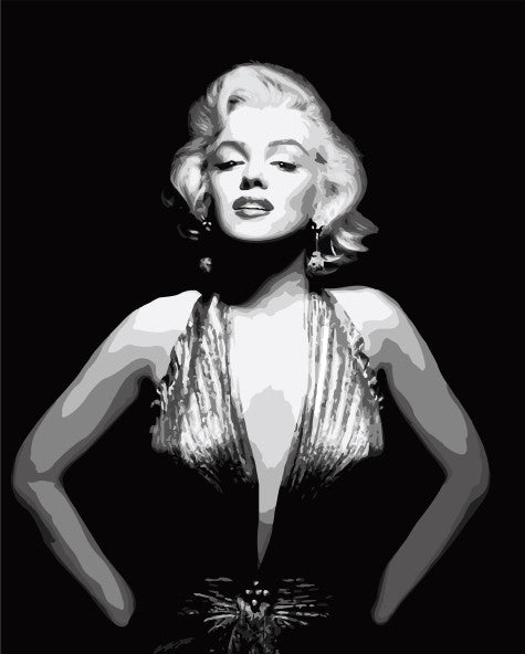 Framless wall art DIY oil painting by numbers hand painted canvas art movie poster 40*50cm -Marilyn Monroe G002