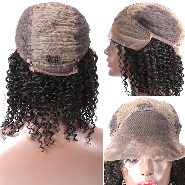 Women Deep Wave Glueless Lace Front Human Hair Short BOB Wigs With Baby Hair Brazilian Remy Curly Hair Wigs Bleached Knots