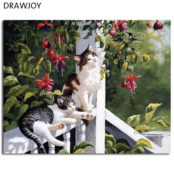 DRAWJOY Animals Cats Framed Picture Painting & Calligraphy DIY Painting By Numbers Coloring By Numbers Home Decor