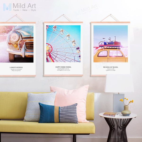 Ballon Sky Wheel Travel Photos Love Quotes Wooden Framed Poster Prints Nordic Wall Art Picture Home Decor Canvas Painting Scroll